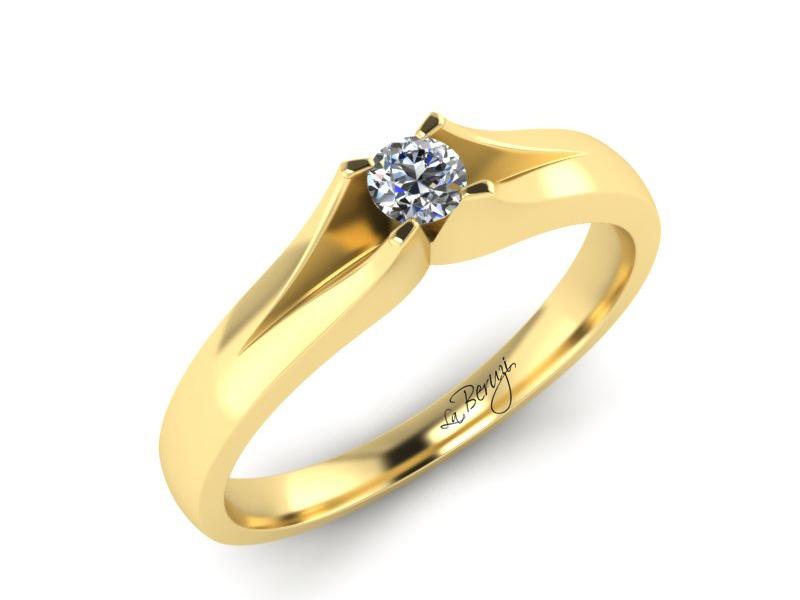 Inel de logodna din aur galben 14K cu diamant de 0,12 ct - MDA066 V3 LA Beruzi