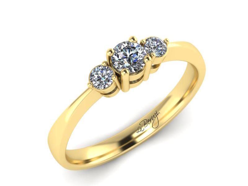 Inel de logodna din aur galben 14K cu diamante de 0,24 ct - MDA018d V3 LA Beruzi