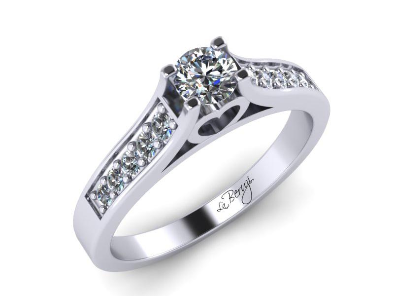 Inel de logodna din aur alb 14K cu diamant de 0,23 ct - MDA032d V1 LA Beruzi