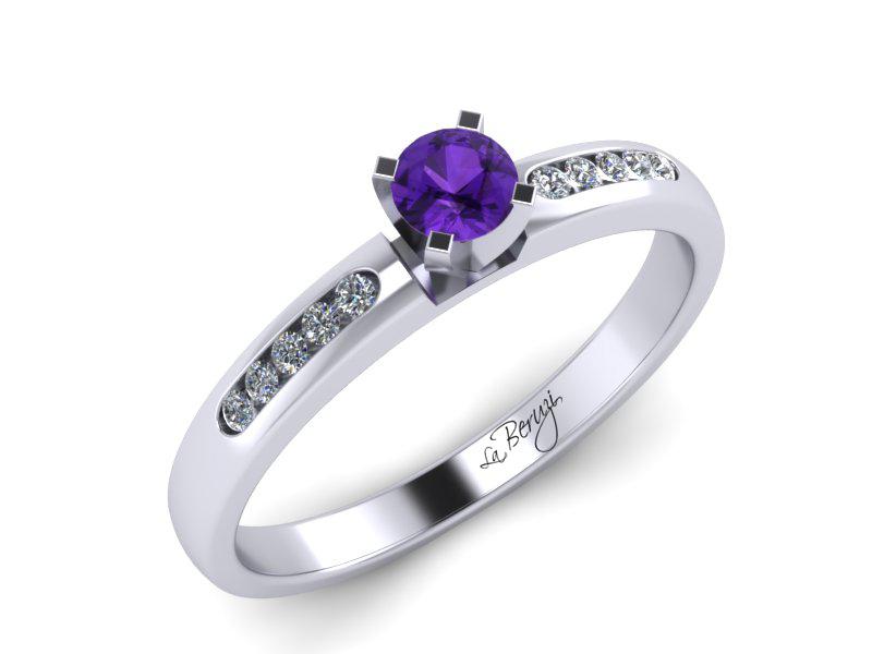 Inel de logodna din aur alb 14K cu Ametist si diamante  -MDM035d