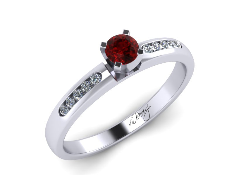 Inel de logodna din aur alb 14K cu Rubin si diamante  -MDR035d