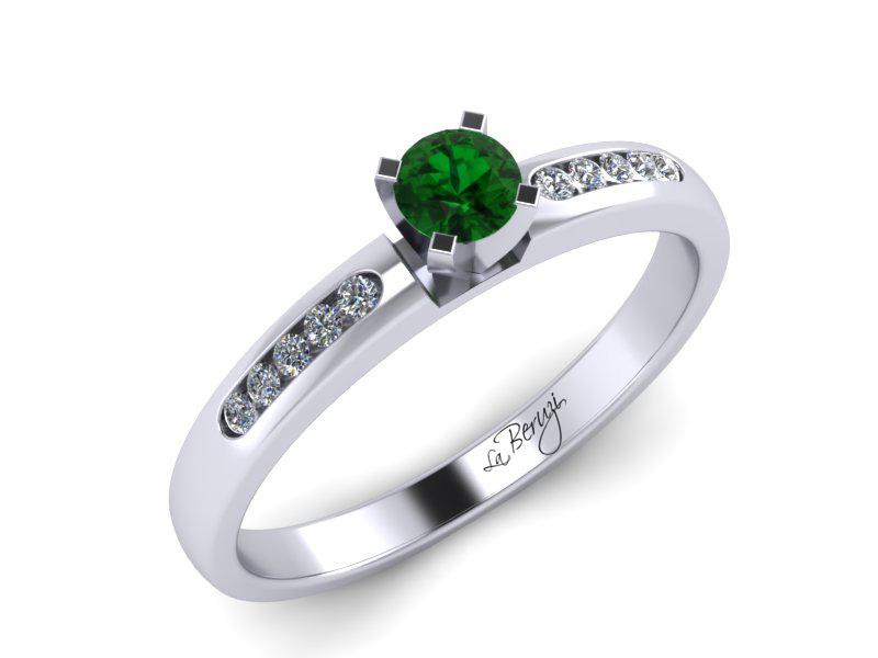 Inel de logodna din aur alb 14K cu Smarald si diamante  -MDZ035d