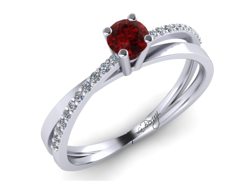 Inel de logodna din aur alb 14K cu diamante de 0,14 ct - MDR053d