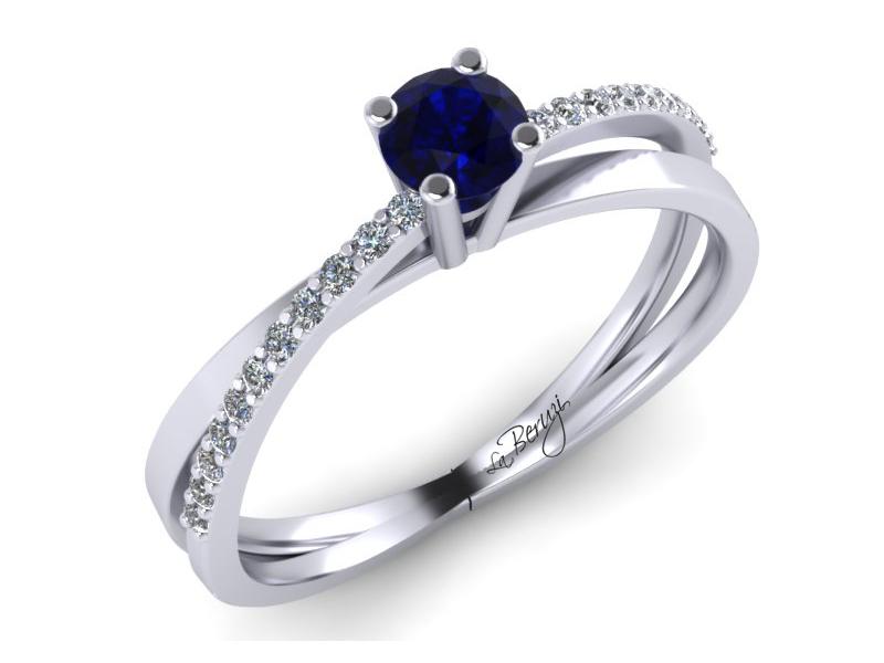 Inel de logodna din aur alb 14K cu diamante de 0,14 ct - MDS053d