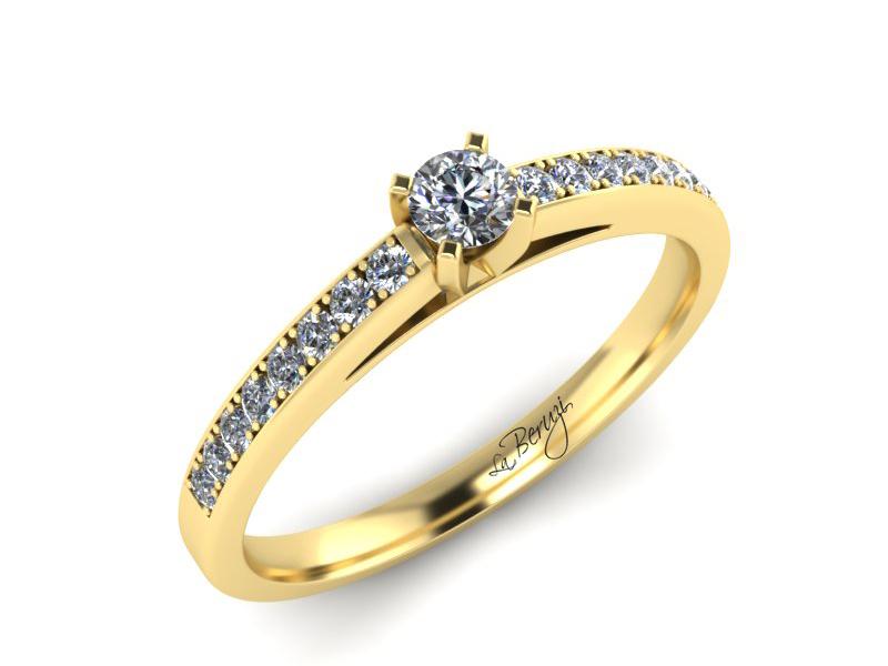 Inel de logodna din aur galben 14K cu diamant de 0,06 ct - MDA059d V3 LA Beruzi