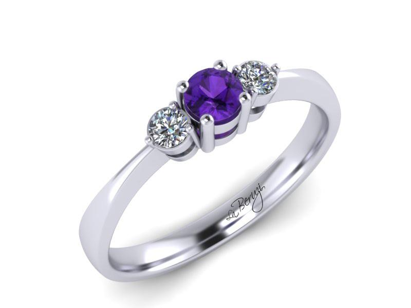 Inel de logodna din aur alb 14K cu Ametist si diamante de 0,09 ct - MDM 052d