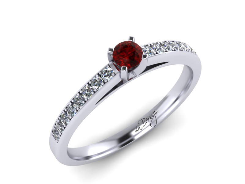 Inel de logodna din aur alb 14K cu Rubin si diamante  -MDN059d V1