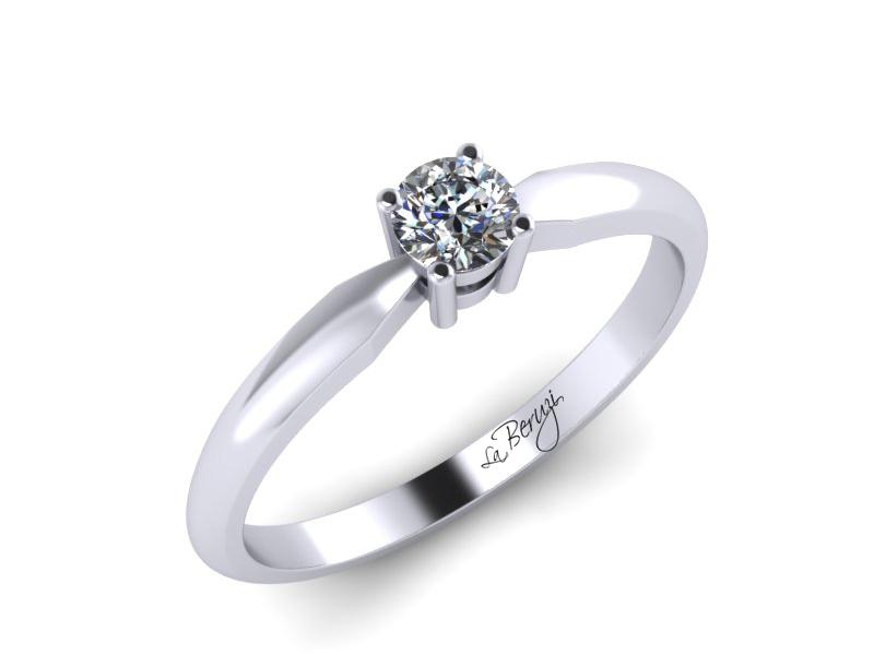 Inel de logodna din aur alb 14K cu diamant de 0,12 ct - MDA063d LA Beruzi