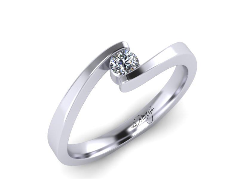 Inel de logodna din aur alb 14K cu diamant de 0,10 ct - MDA072d LA Beruzi