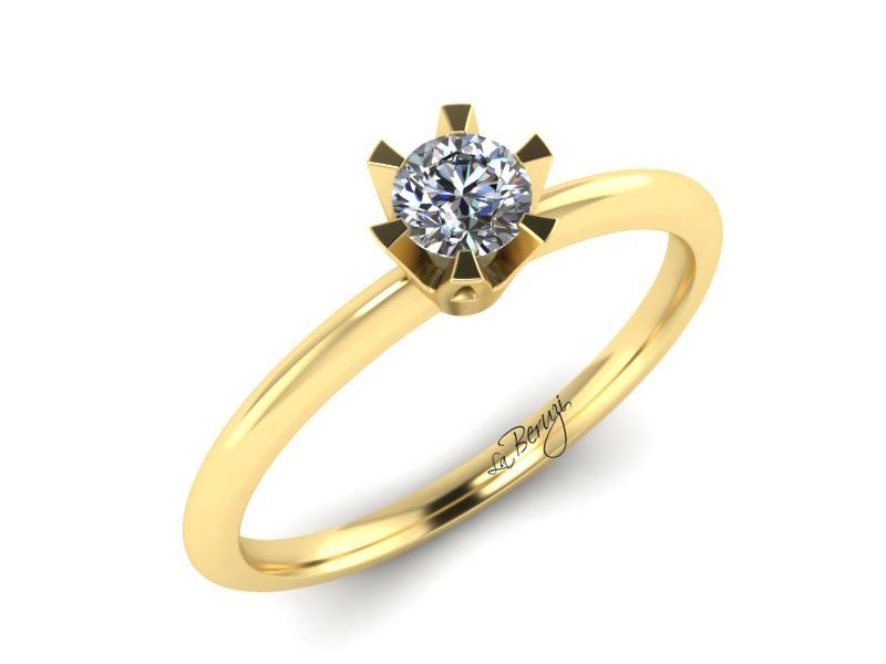 Inel de logodna din aur galben 14K cu diamant de 0,20 ct - MDA 069 v3