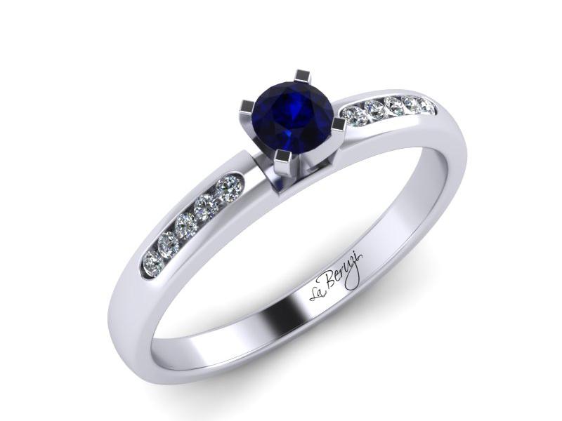 Inel de logodna din aur alb 14K cu Safir si diamante  -MDS035d LA Beruzi