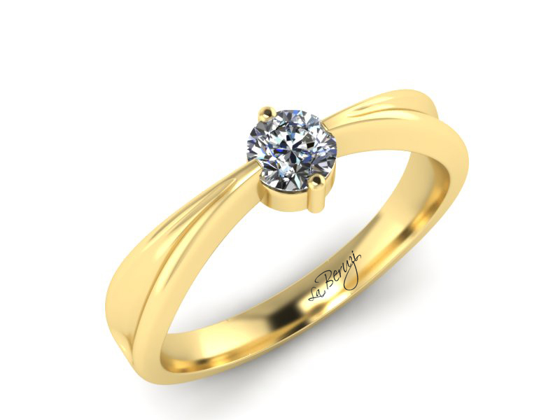 Inel de logodna din aur galben 14K cu diamant de 0,12 ct - MDA001 V3