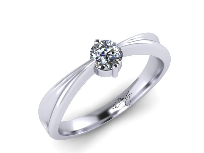 Inel de logodna din aur alb 14K cu diamant de 0,06 ct - MDA001 LA Beruzi