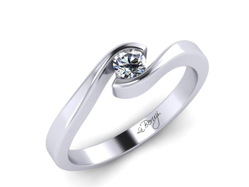 Inel de logodna din aur alb 14K cu diamant de 0,15 ct - MDA006