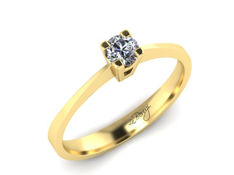Inel de logodna din aur galben 14K cu diamant de 0,20 ct - MDA009 V3