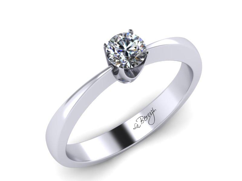 Inel de logodna din aur alb 14K cu diamant de 0,12 ct - MDA010 V1
