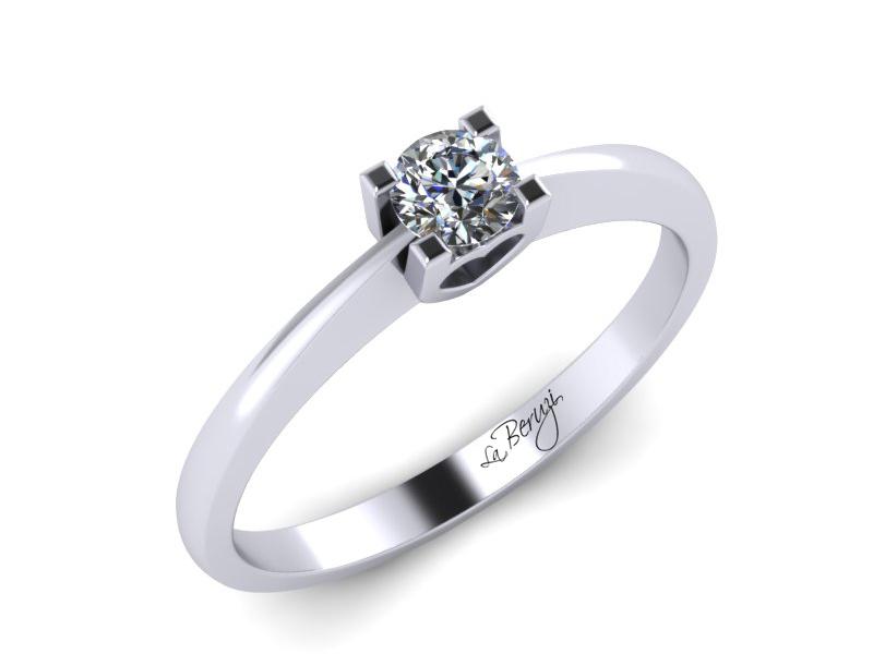 Inel de logodna aur alb 14K 1 x diamant 0,12 ct - MDA011