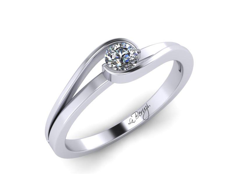 Inel de logodna din aur alb 14K cu diamant de 0,10 ct - MDA012