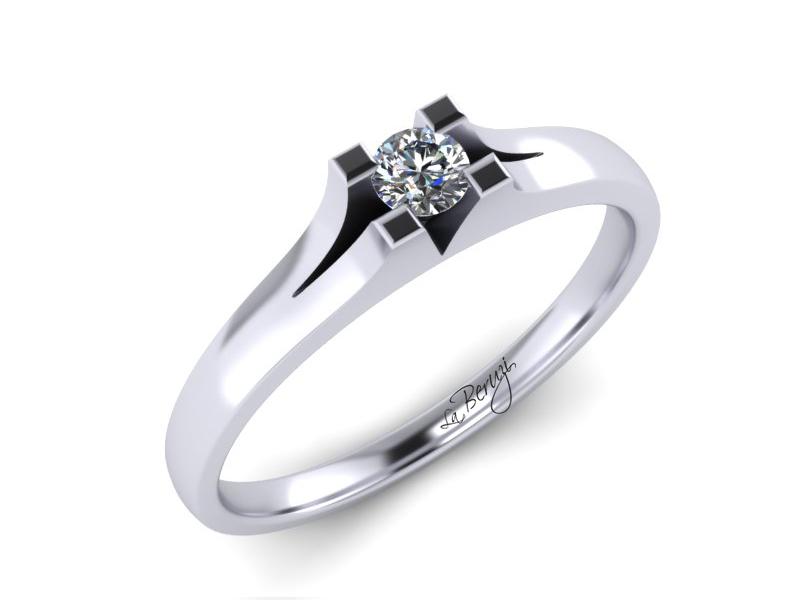 Inel de logodna din aur alb 14K cu diamant de 0,09 ct - MDA015