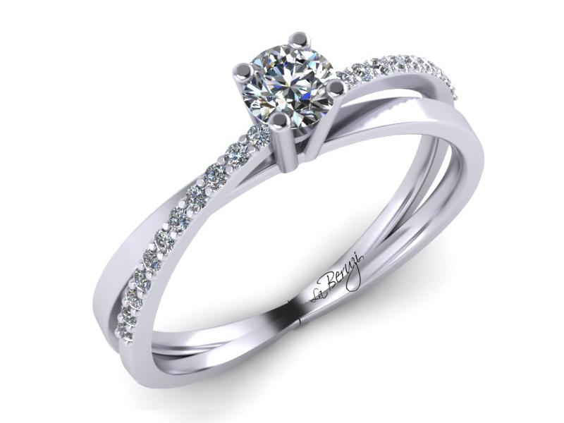 Inel de logodna din aur alb 14K cu diamante 0,25 ct - MDA016