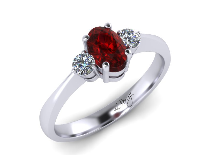 Inel de logodna din aur alb cu rubin 6x4mm de 0,65 ct si diamante de 0,10 ct - MDR017