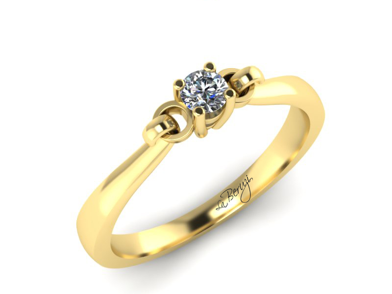 Inel de logodna din aur galben 14K cu diamant de 0,12 ct - MDA019 V3