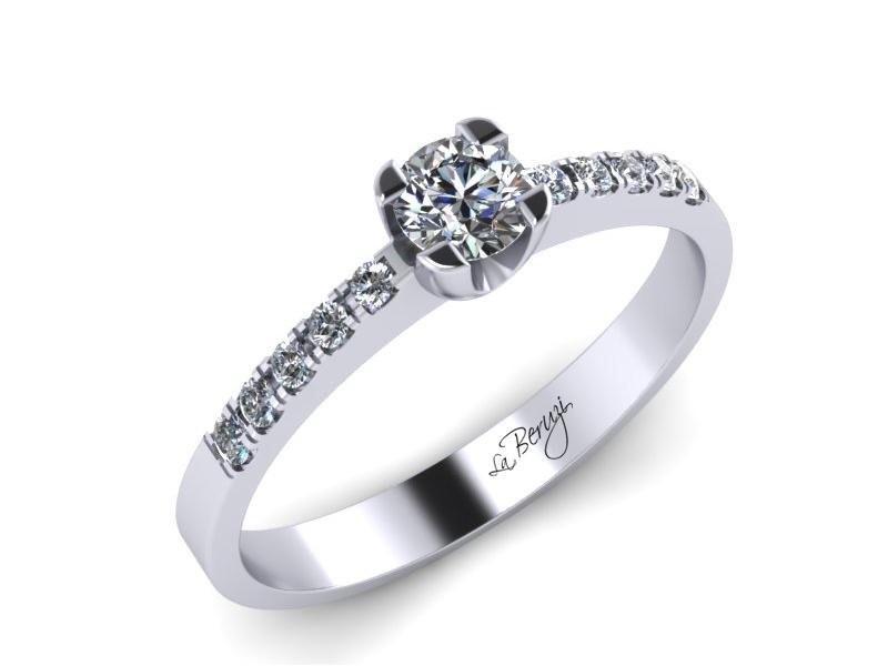Inel de logodna din aur alb 14K cu diamante de 0,22 ct - MDA002