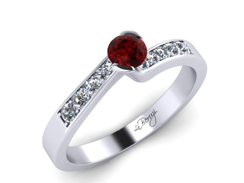 Inel de logodna din aur alb 14K cu Rubin  si diamante de 0,12 ct - MDR024