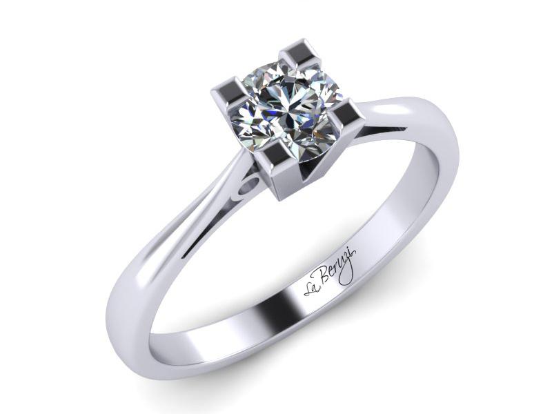 Inel de logodna din aur alb 14K cu diamant de 0,12 ct - MDA021 V1