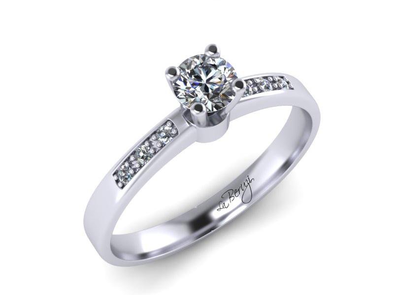 Inel de logodna din aur alb 14K cu diamante de 0,16 ct - MDA022