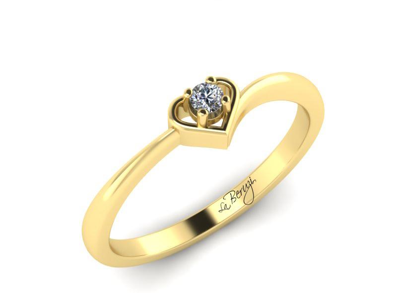Inel de logodna din aur galben 14K cu diamant de 0,09 ct - MDA018 V3