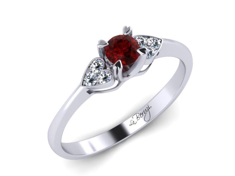 Inel de logodna aur alb 14K cu Rubin si diamante de 0,06ct- MDR008