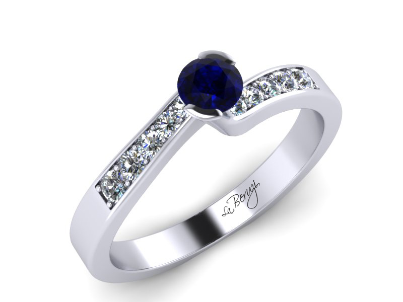 Inel de logodna din aur alb 14K cu Safir  si diamante de 0,12 ct -MDS024