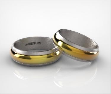 Verighete din aur alb si galben de 14k SS 008