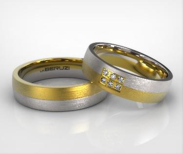Verighete din aur alb si galben de 14k SS 020