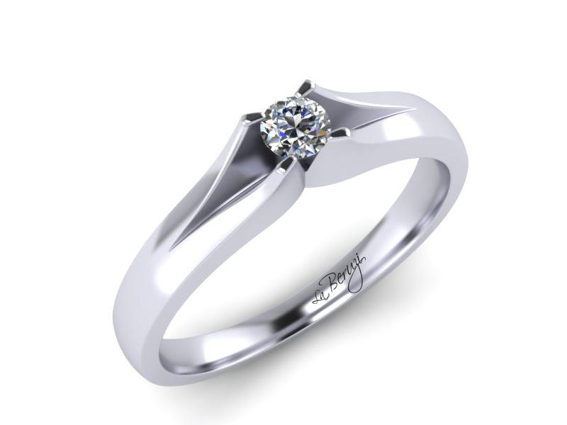 Inel de logodna din aur alb 14K cu diamant de 0,12 ct - MDA066 LA Beruzi