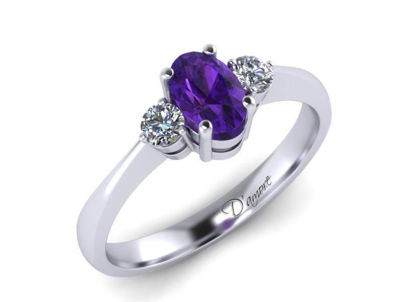 Inel de logodna din aur alb cu ametist 6x4 si diamante de 0,10 ct - MDM017