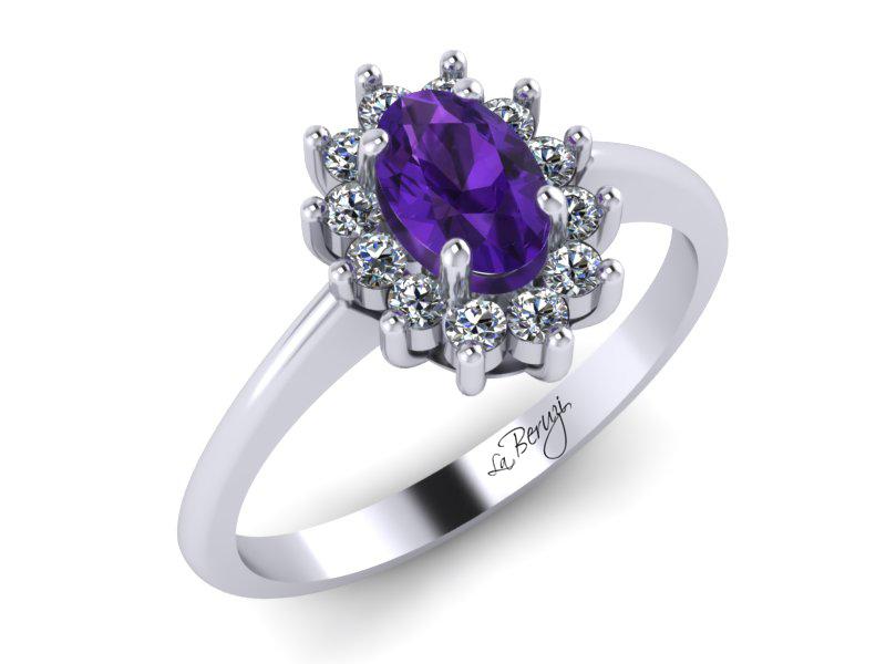 Inel de logodna din aur alb 14K cu Smarald si Diamante  - MDM012d