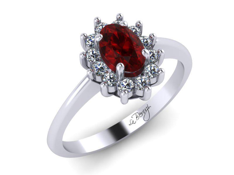 Inel de logodna din aur alb 14K cu Smarald si Diamante  - MDR012d