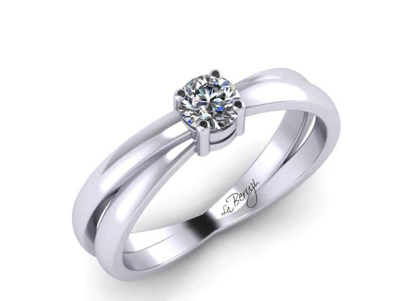 Inel de logodna din aur alb 14K cu diamant de 0,15 ct - MDA065 V2 LA Beruzi
