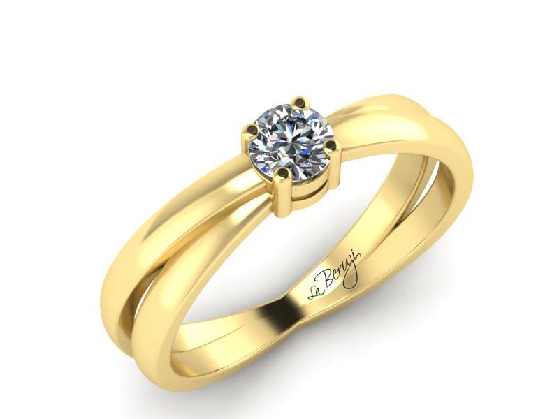 Inel de logodna din aur galben 14K cu diamant de 0,20 ct - MDA065 LA Beruzi