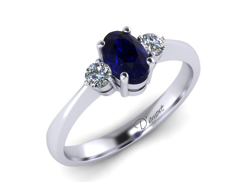 Inel de logodna din aur alb cu safir 6x4mm de 0,65 ct si diamante de 0,10 ct - MDS017