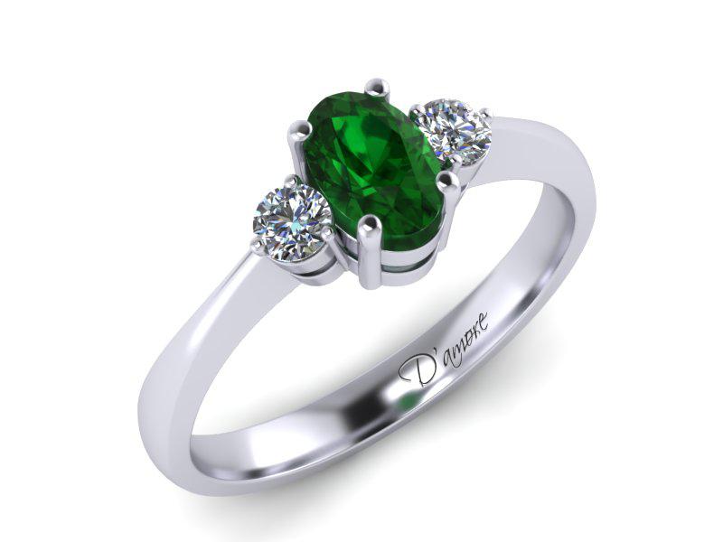 Inel de logodna din aur alb cu smarald de 0,65 ct si diamante de 0,10 ct - MDZ017