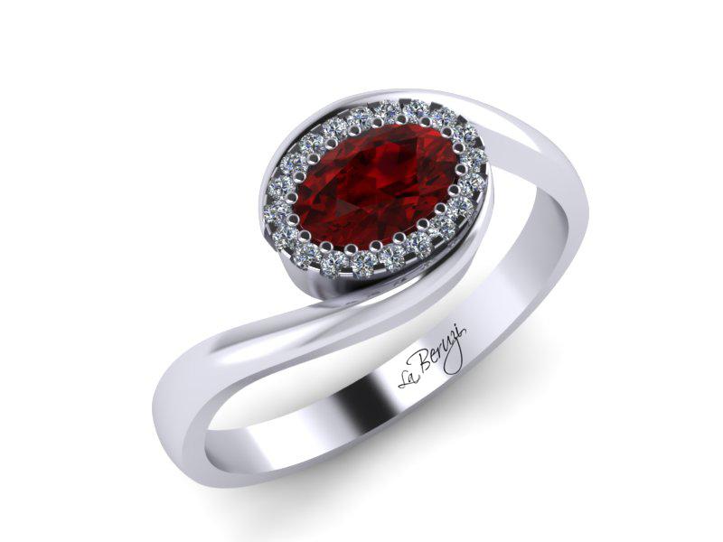 Inel de logodna din aur alb 14K cu Rubin de 6x4 si diamante de 0,25 ct - MDR022