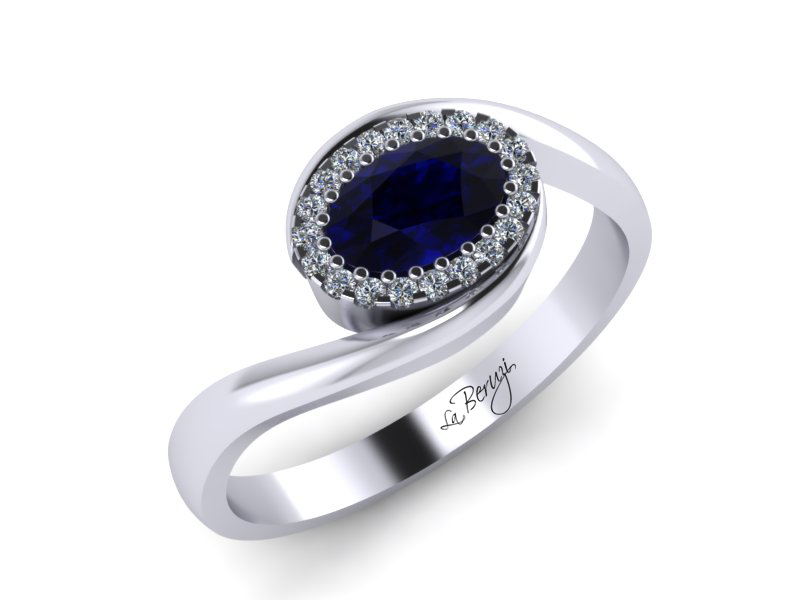 Inel de logodna din aur alb 14K cu Safir de 0,55ct si diamante de 0,25 ct - MDS022