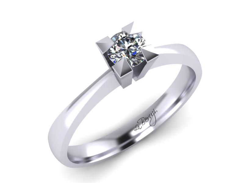 Inel de logodna din aur alb 14K cu diamant de 0,10 ct - MDA064d LA Beruzi