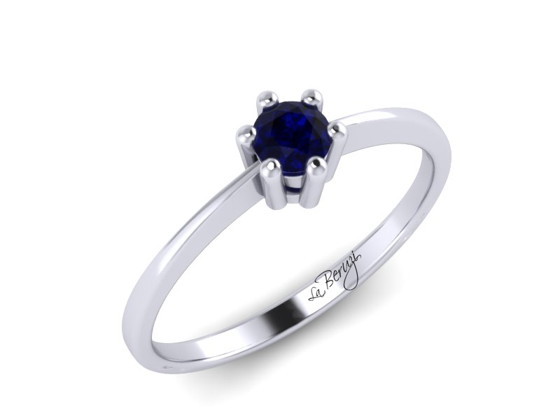 Inel de logodna din aur alb 14K cu Smarald MDS048d