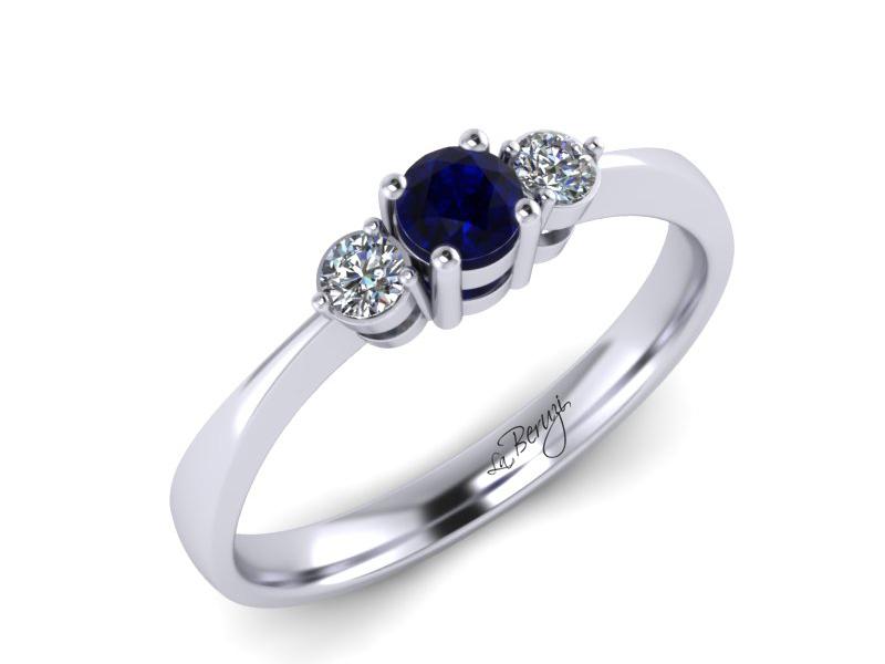 Inel de logodna din aur alb 14K cu Safir si diamante de 0,09 ct - MDS 052d