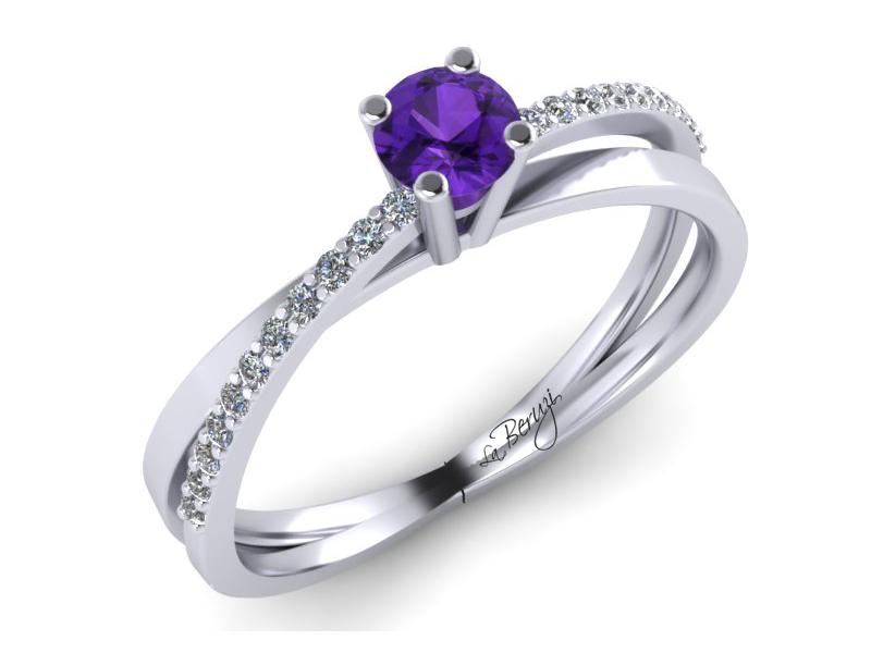 Inel de logodna din aur alb 14K cu diamante de 0,14 ct - MDM053d