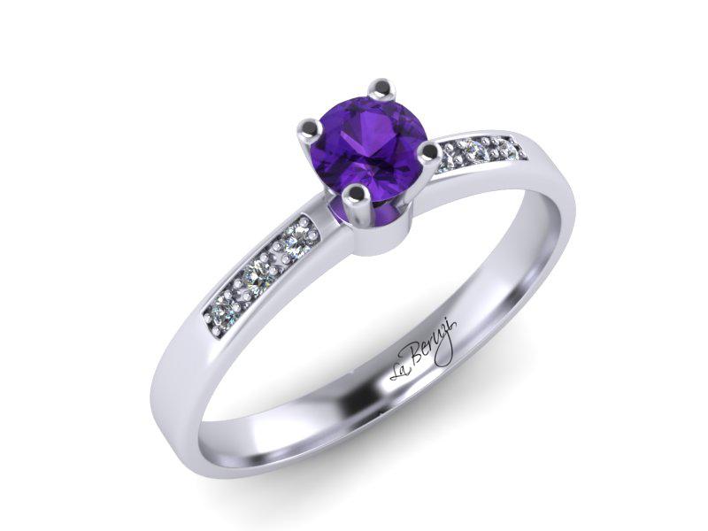 Inel de logodna din aur alb 14K cu diamante de 0,16 ct - MDM054d